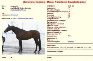 Albaran xx er kåret i Dansk Varmblod.